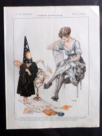 La Vie Parisienne 1917 Art Deco Print. L'Amour Astrologue by Herouard. Celestial REDUCED FROM £25